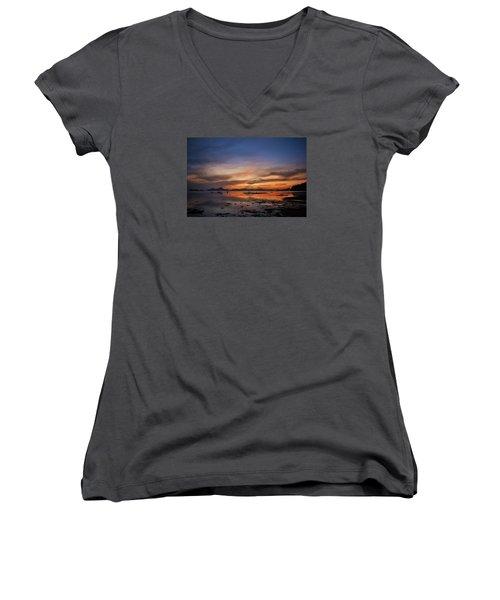 Sunset Pi Women's V-Neck T-Shirt (Junior Cut) by John Swartz