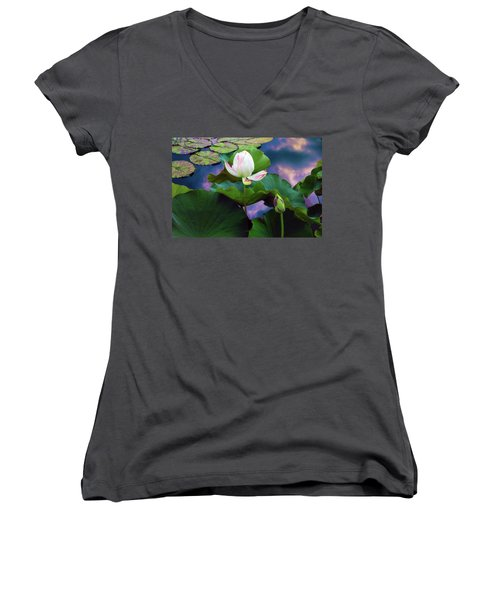 Sunset Pond Lotus Women's V-Neck