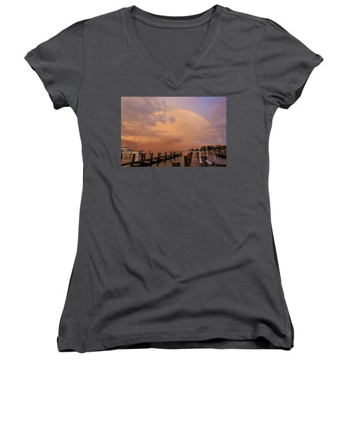 Women's V-Neck T-Shirt (Junior Cut) featuring the photograph Sunset Rainbow by Jennifer Casey