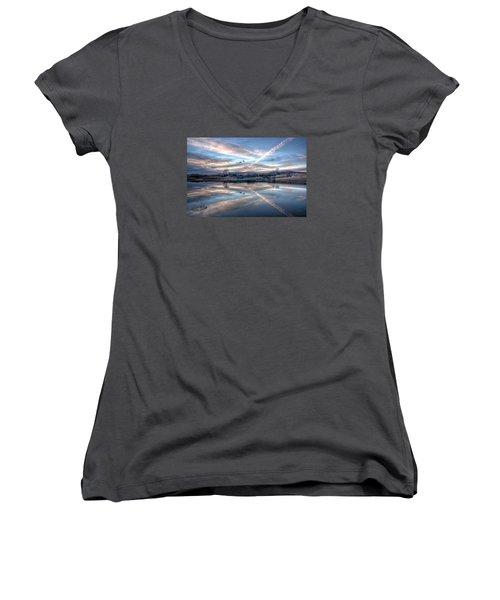 Sunset Reflection Women's V-Neck T-Shirt (Junior Cut) by Fiskr Larsen