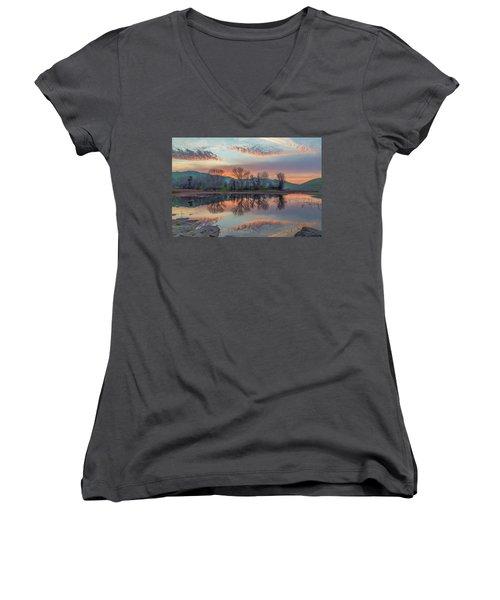 Sunset Reflection Women's V-Neck T-Shirt (Junior Cut) by Marc Crumpler