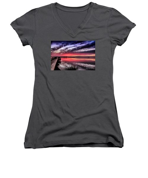 Women's V-Neck T-Shirt (Junior Cut) featuring the photograph Sunset Reflections by Phil Mancuso