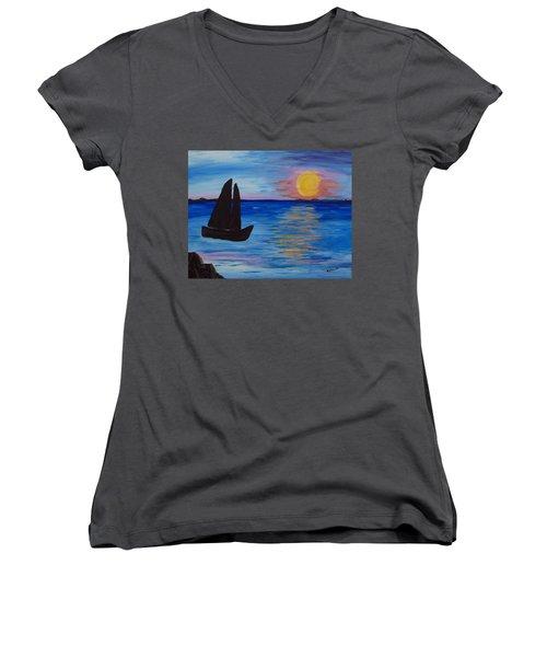 Sunset Sail Dark Women's V-Neck T-Shirt (Junior Cut) by Barbara McDevitt
