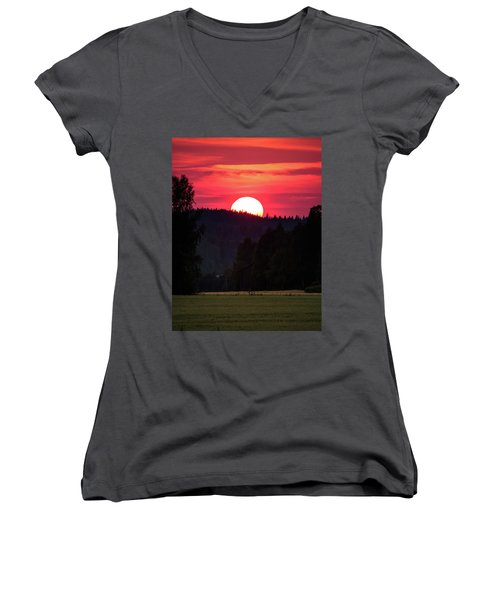 Sunset Scenery Women's V-Neck T-Shirt (Junior Cut) by Teemu Tretjakov
