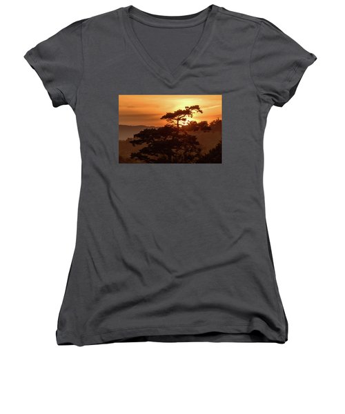 Sunset Silhouette Women's V-Neck T-Shirt (Junior Cut) by Keith Boone