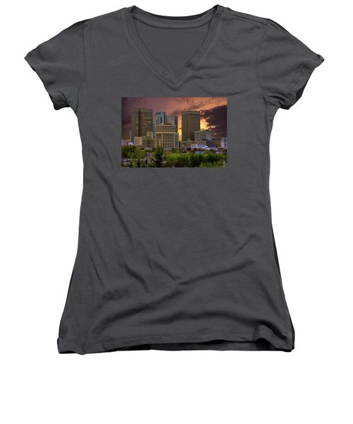 Sunset Skyline Women's V-Neck T-Shirt