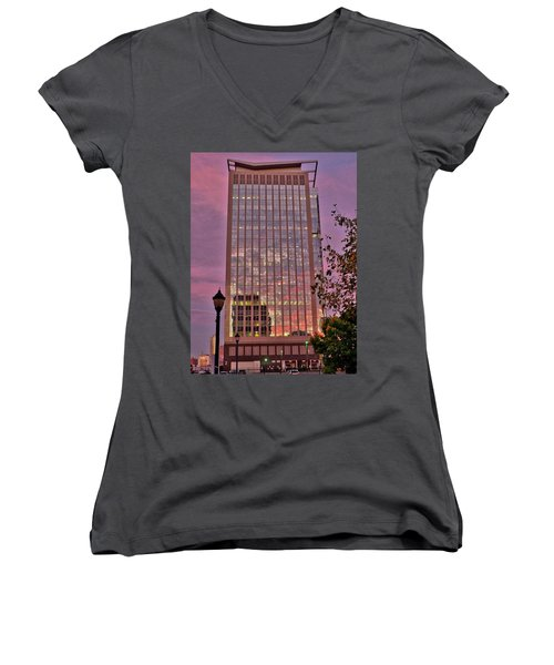 Sunset Skyscraper Women's V-Neck (Athletic Fit)