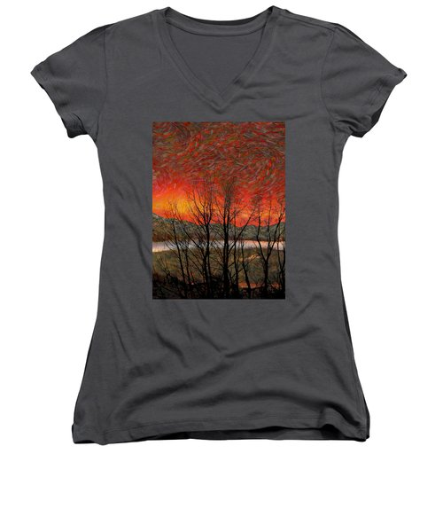 Sunset Soliloquy Women's V-Neck T-Shirt (Junior Cut) by Ed Hall