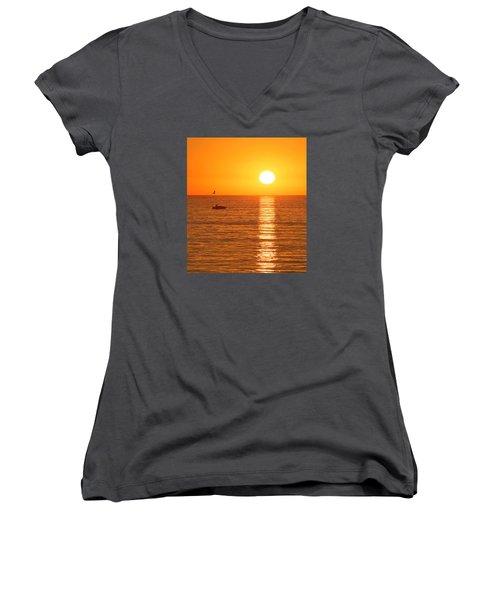 Sunset Solitude Women's V-Neck T-Shirt (Junior Cut) by Ed Clark