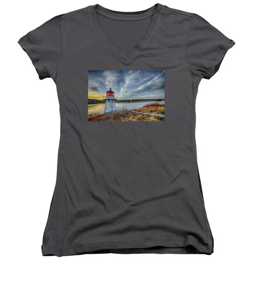 Sunset, Squirrel Point Lighthouse Women's V-Neck (Athletic Fit)