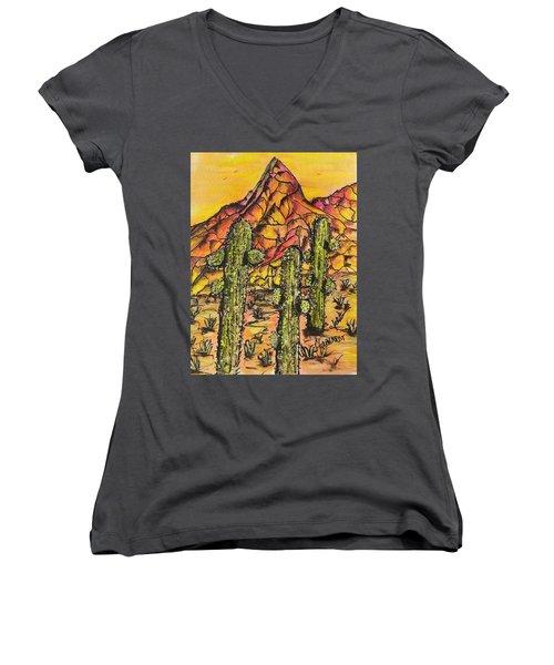 Desert Sunset Sunrise  Women's V-Neck T-Shirt