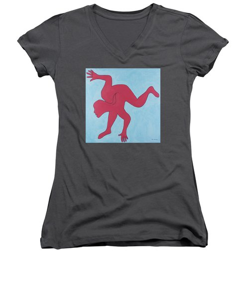 Women's V-Neck T-Shirt (Junior Cut) featuring the painting Sunset Surfer by Ben Gertsberg