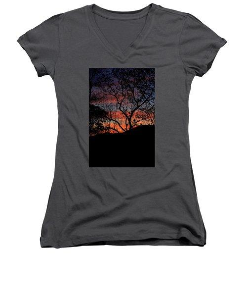 Sunset Women's V-Neck T-Shirt (Junior Cut) by Tammy Schneider