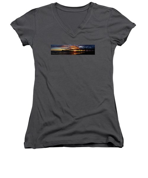 Women's V-Neck T-Shirt (Junior Cut) featuring the photograph Sunset  by Thanh Thuy Nguyen