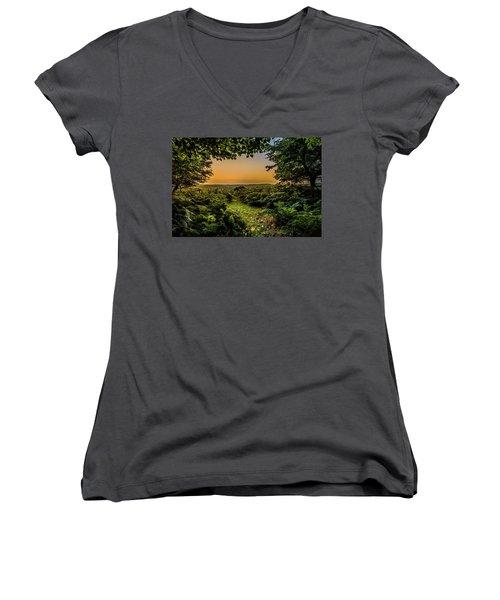 Sunset Through Trees Women's V-Neck