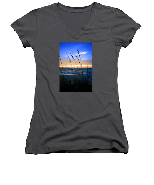 Sunset Thru The Sea Oats At Delnor Wiggins Women's V-Neck (Athletic Fit)