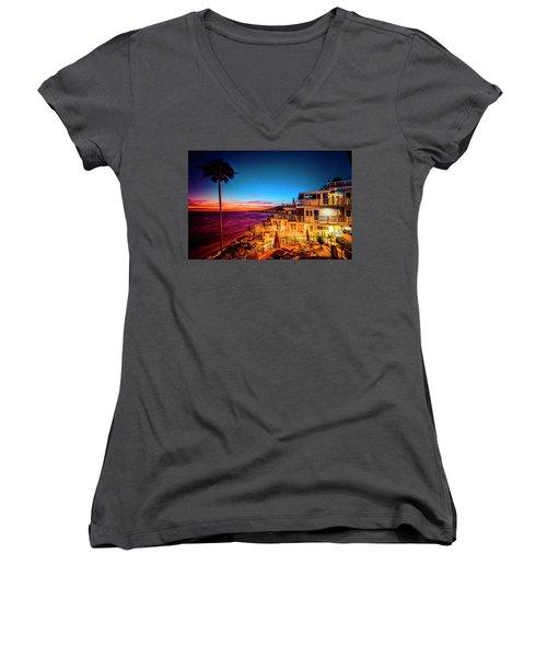 Sunset Twilight At The Laguna Riviera Women's V-Neck T-Shirt