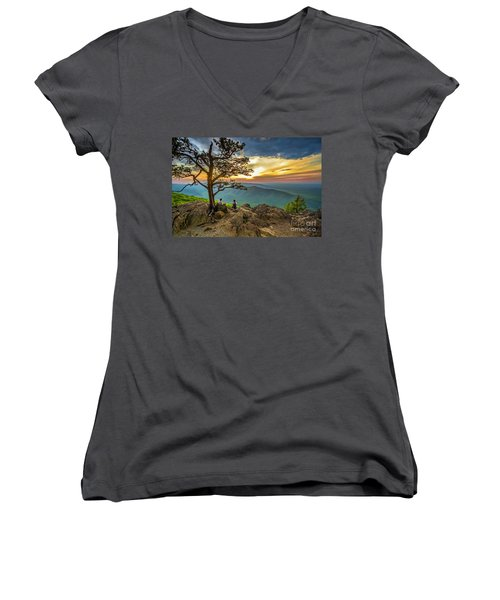 Sunset View At Ravens Roost Women's V-Neck T-Shirt