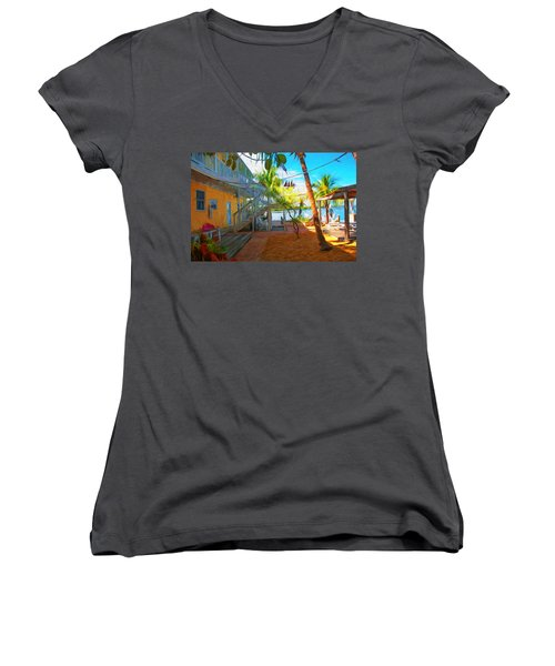 Sunset Villas Patio Women's V-Neck (Athletic Fit)