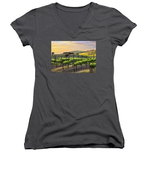 Sunset Vineyard Women's V-Neck T-Shirt