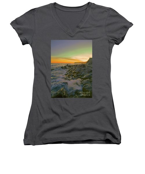 Sunset Waves Women's V-Neck T-Shirt (Junior Cut) by Todd Breitling