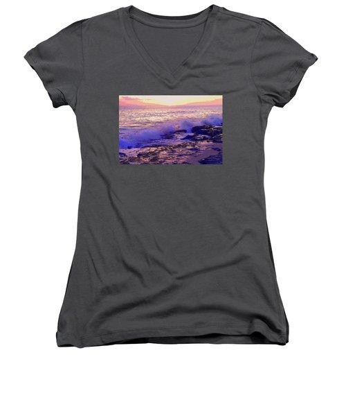 Sunset, West Oahu Women's V-Neck T-Shirt (Junior Cut) by Susan Lafleur