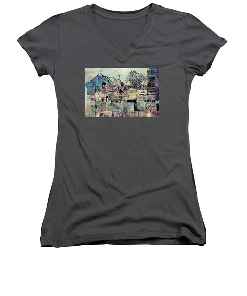 Women's V-Neck T-Shirt (Junior Cut) featuring the digital art Sunsets And Blue Point Collage by Susan Stone