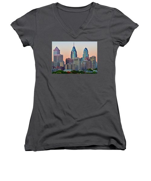 Women's V-Neck T-Shirt (Junior Cut) featuring the photograph Sunsets Glow In Philly by Frozen in Time Fine Art Photography