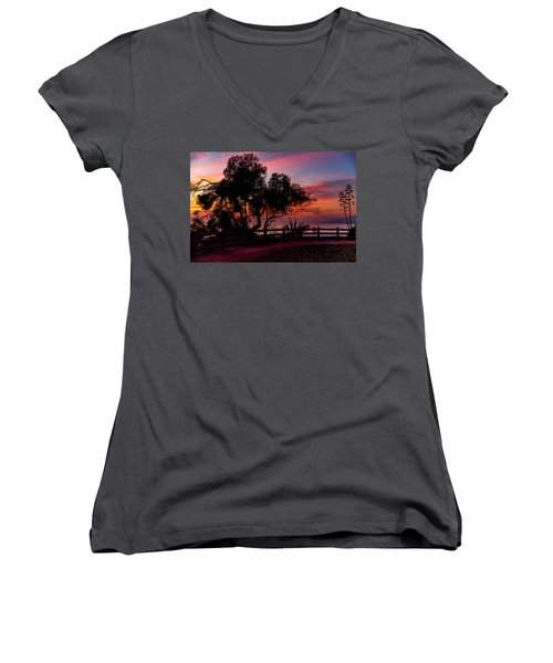 Sunset Silhouettes From Palisades Park Women's V-Neck