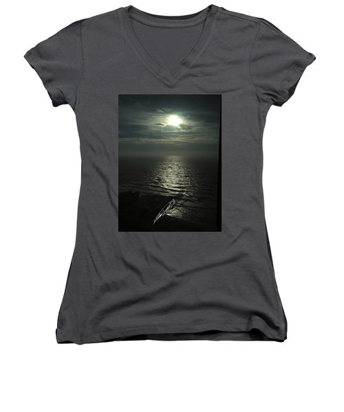 Sunshine Over Central Pier, Atlantic City, Nj Women's V-Neck (Athletic Fit)