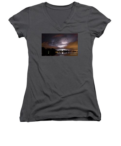 Sunsplash Nights Women's V-Neck T-Shirt (Junior Cut)
