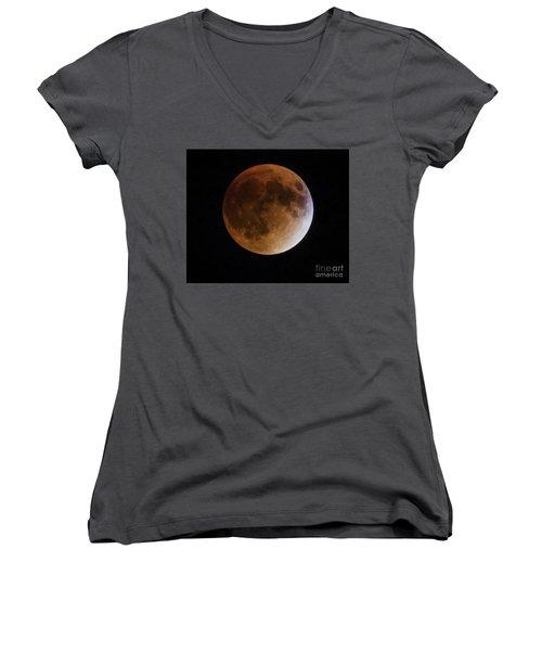 Super Blood Moon Lunar Eclipses Women's V-Neck