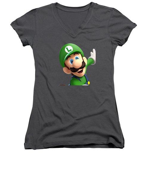 Super Luigi Art Women's V-Neck (Athletic Fit)