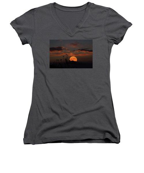 Super Moon And Silhouettes Women's V-Neck T-Shirt (Junior Cut) by John Haldane