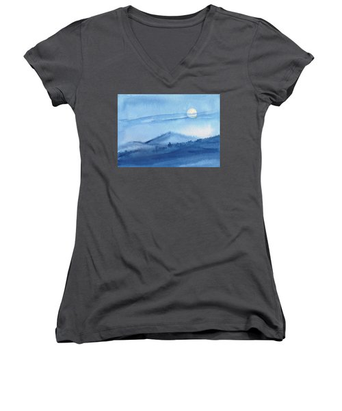 Women's V-Neck featuring the painting Super Moon by Asha Sudhaker Shenoy