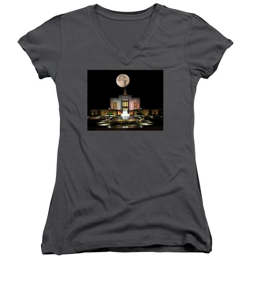 Super Moon At Ogden Lds Temple Women's V-Neck