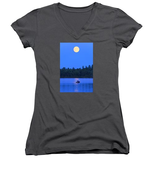 Women's V-Neck T-Shirt (Junior Cut) featuring the photograph Super Moon At The Lake by Barbara West