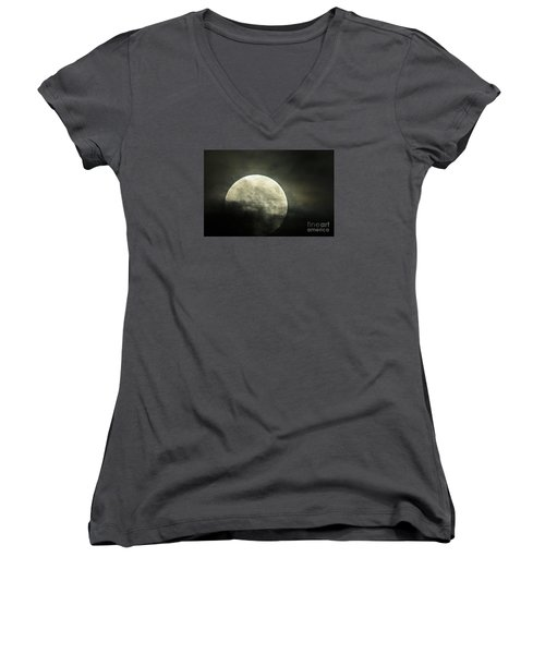 Super Moon In Clouds Women's V-Neck (Athletic Fit)