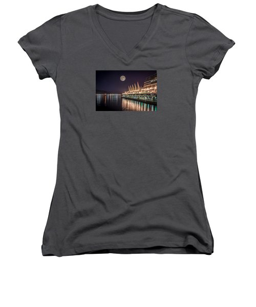 Women's V-Neck T-Shirt (Junior Cut) featuring the photograph Super Moon Over Canada Place by Sabine Edrissi