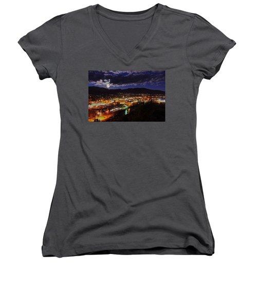 Super-moon Over Steamboat Women's V-Neck T-Shirt (Junior Cut) by Matt Helm