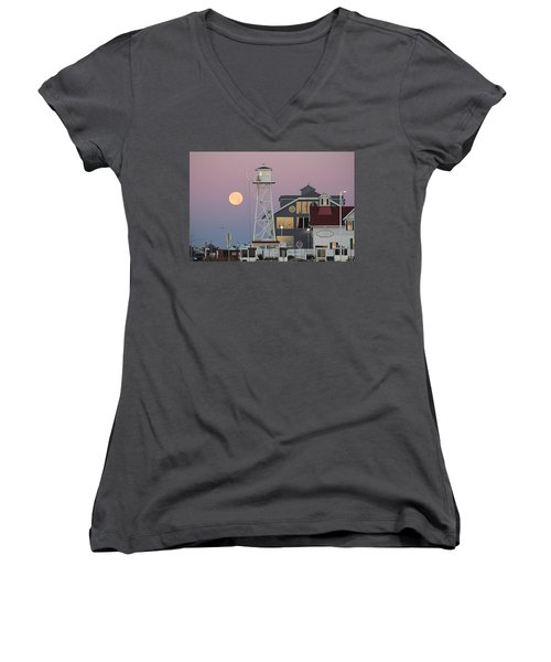 Super Wolf Moon At The Watch Tower Women's V-Neck (Athletic Fit)