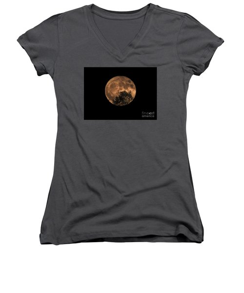 Supermoon Rising Women's V-Neck T-Shirt (Junior Cut) by Alana Ranney