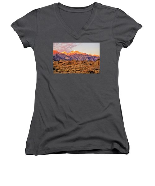 Supermoon Setting At Sunrise Over Mount Williamson In The Sierra Nevada Mountains Women's V-Neck (Athletic Fit)