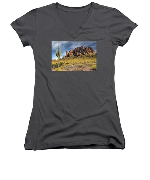 Women's V-Neck T-Shirt featuring the photograph Superstition Mountains Saguaro by James Eddy