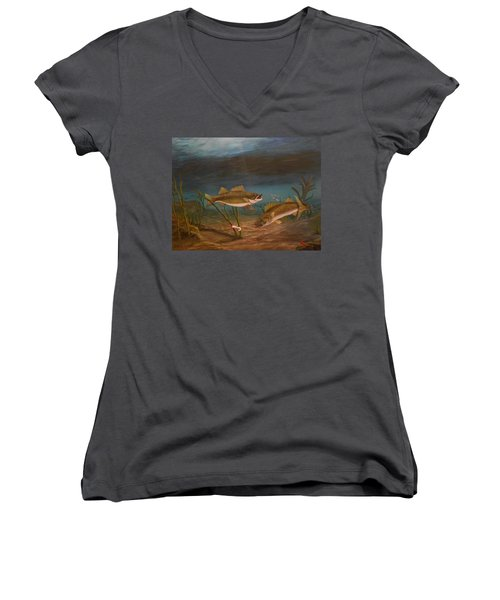 Women's V-Neck T-Shirt (Junior Cut) featuring the painting Supper Time by Sheri Keith