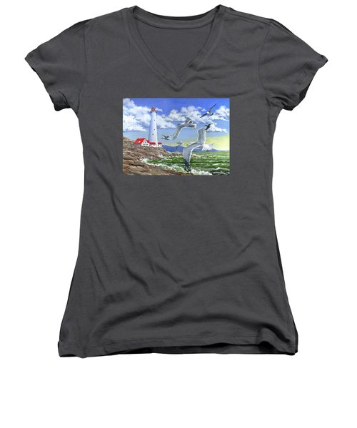 Surf And Turf Women's V-Neck (Athletic Fit)