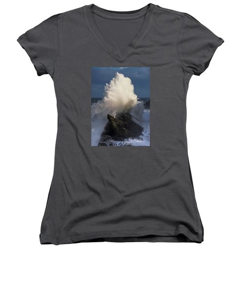 Surf Eruption Women's V-Neck (Athletic Fit)