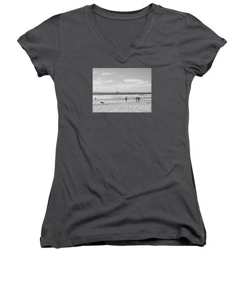 Strollin On Dog Beach Women's V-Neck T-Shirt
