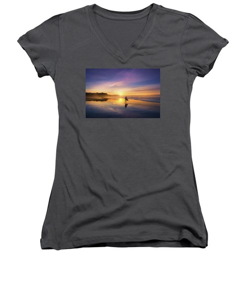 Surfer In Beach At Sunset Women's V-Neck