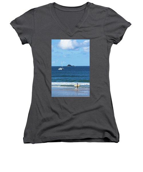 Surfer On Main Beach Women's V-Neck T-Shirt